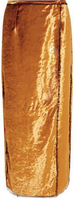Sid Neigum - Crushed-velvet Wrap Midi Skirt - Gold
