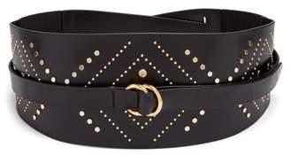 Isabel Marant Stud Embellished Leather Wraparound Belt - Womens - Black