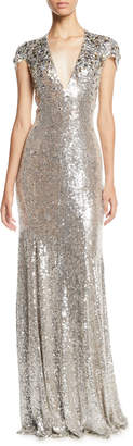 Jenny Packham Short-Sleeve V-Neck Column Evening Gown w/ Crystalized Beading