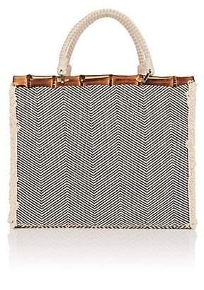 Barneys New York Women's Chevron-Print Cotton-Blend Tote Bag - Neutral