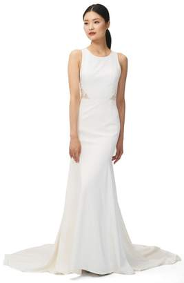 Jenny Yoo JENNY BY Reid Lace & Crepe Trumpet Gown