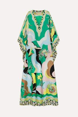 Emilio Pucci Printed Silk-satin Kaftan - Green