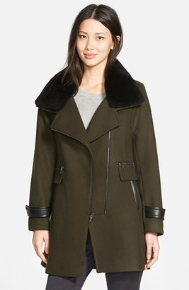 Trina Turk 'Aubree' Wool Blend Coat with Detachable Genuine Shearling Trim $545 thestylecure.com