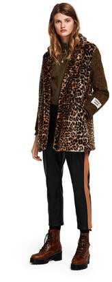 Scotch & Soda Contrast Sleeve Leopard Print Coat