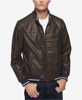 Tommy Hilfiger Men Faux-Leather Bomber Jacket