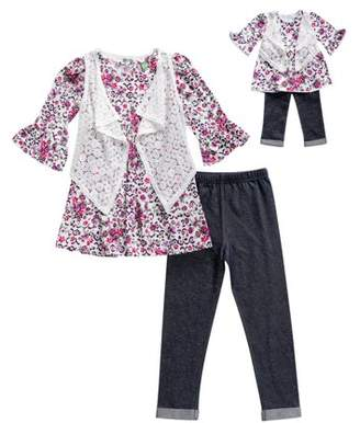 Dollie & Me Floral Tunic, Vest And Legging, 3-Piece Outfit Set With Matching Doll Outfit (Little Girls And Big Girls)