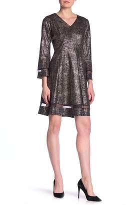 Robbie Bee 3\u002F4 Bell Sleeve A-Line Dress
