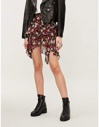 The Kooples Floral-print chiffon skirt