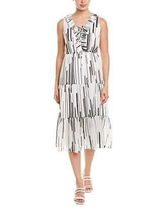 Taylor Dresses Women's Sleeveless Pleat Front Broken Stripe Midi Dress