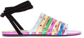 ATTICO The Chiara Metallic Snakeskin Effect Leather Sandals - Womens - Multi