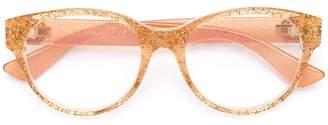Gucci transparent glitter curved glasses