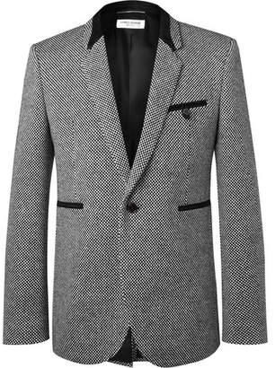 Saint Laurent Slim-Fit Suede-Trimmed Virgin Wool-Blend Tweed Blazer