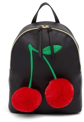 T-Shirt & Jeans Faux Fur Cherry Backpack