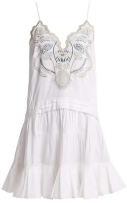 Chloé V Neck Embroidered Cotton Voile Mini Dress - Womens - White