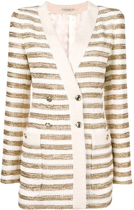 Alessandra Rich striped double breasted blazer