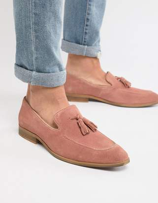 Asos Design DESIGN Loafers In Pink Suede With Natural Sole