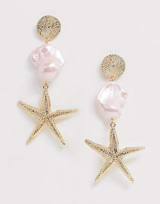 f66f15c24 Asos Design DESIGN earrings with coloured faux pearl and starfish drop in  gold tone