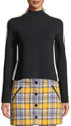 Veronica Beard Retha Reversible Striped Sporty Pullover Sweater
