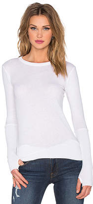 Enza Costa Cashmere Cuffed Crew Neck Top