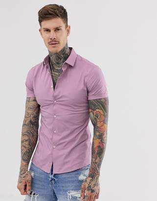 Asos Design DESIGN skinny fit shirt in pink