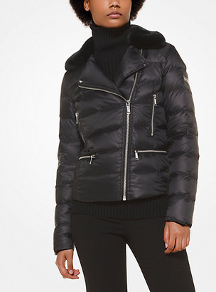 Michael Kors Satin And Faux Fur Puffer Jacket