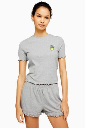 Topshop Womens Grey 'Bitter Sweet' Pyjama Set - Lemon