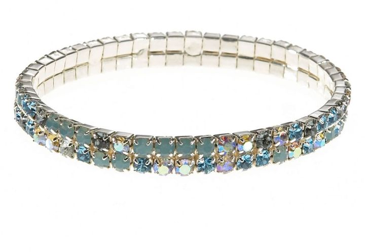 Dillard's crystal collection blue & green rhinestone 2-row bracelet