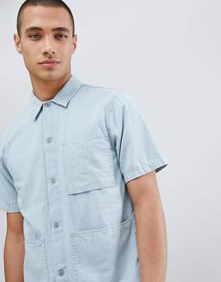 Nudie Jeans Svante denim short sleeve organic cotton worker shirt