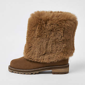 River Island Brown turn down faux fur boots