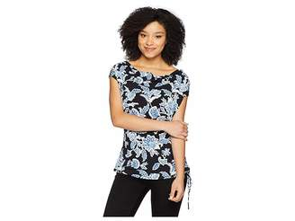 Vince Camuto Side Drawstring Woodblock Floral Tee Women's Blouse