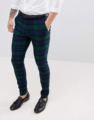 Asos DESIGN Wedding Super Skinny Suit Pants In Blackwatch Plaid Check