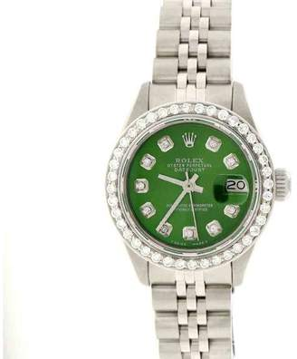 Rolex Datejust Stainless Steel & Olive Green Diamond Dial 26mm Womens Watch