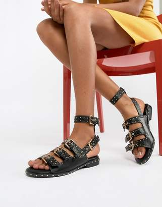 Missguided Studded Buckle Flat Sandals