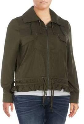 Vigoss Plus Ruffle-Trimmed Peplum Jacket