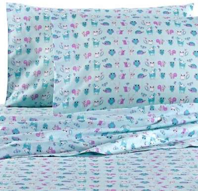 VCNY home VCNY Forest Friends Twin Sheet Set in Turquoise