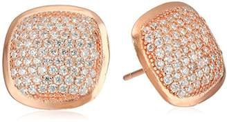 Sterling Rose-Tone Square Micro Pave Stud Earrings