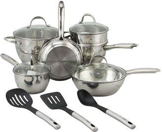Asstd National Brand Oster Ridgewell 13 piece Stainless Steel Belly Shape Cookware Set in Silver Mirror Polish with Hollow Handle