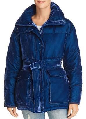 Sjyp Velvet Puffer Down Coat