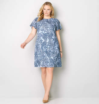 Avenue Denim Paisley A-Line Dress