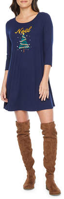 City Streets 3/4 Sleeve Holiday Swing Dresses