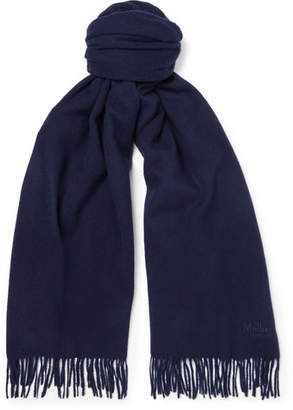 Mulberry Fringed Wool Scarf - Midnight blue