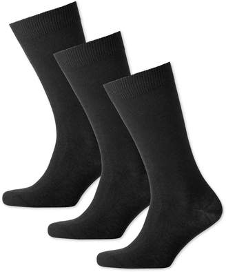 Charles Tyrwhitt Black Cotton Rich 3 Pack Socks Size Large