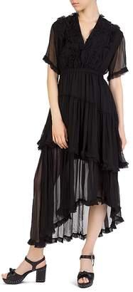 The Kooples Ruffled Asymmetric Silk Midi Dress