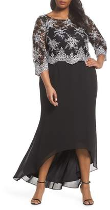 BRIANNA Embroidered Lace Bodice High/Low Gown