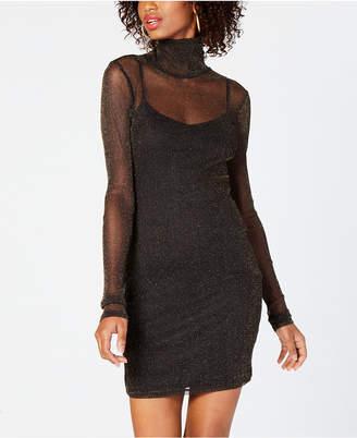 Material Girl Juniors' Metallic-Mesh Bodycon Dress, Created for Macy's