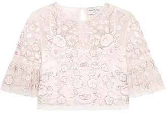 Needle & Thread - Rosette Embellished Embroidered Tulle Top - Ivory $450 thestylecure.com