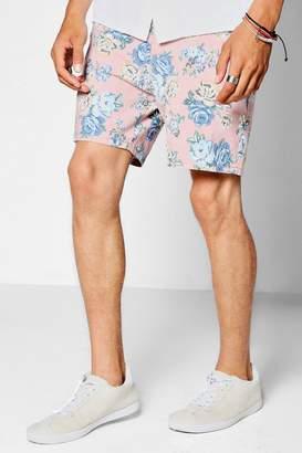 boohoo Pink Floral Mid Length Smart Shorts