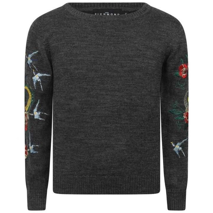John RichmondGrey Wool Embroidered Sweater