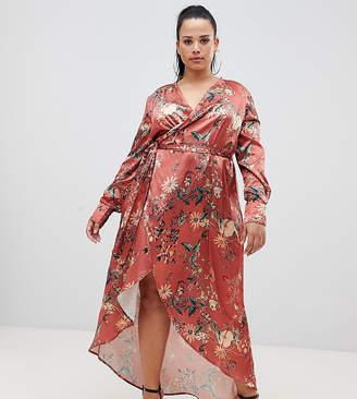 Club L Plus plus floral long sleeve wrap maxi dress
