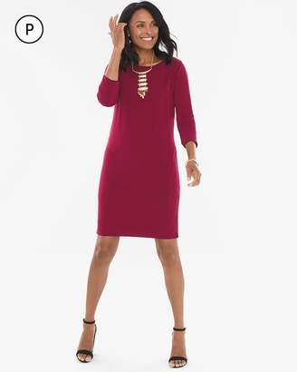 Chico's Chicos Petite Reversible Solid Mulberry Red-Deep Merlot Dress